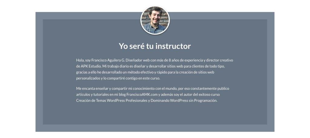 Diseño de sección acerca del instructor