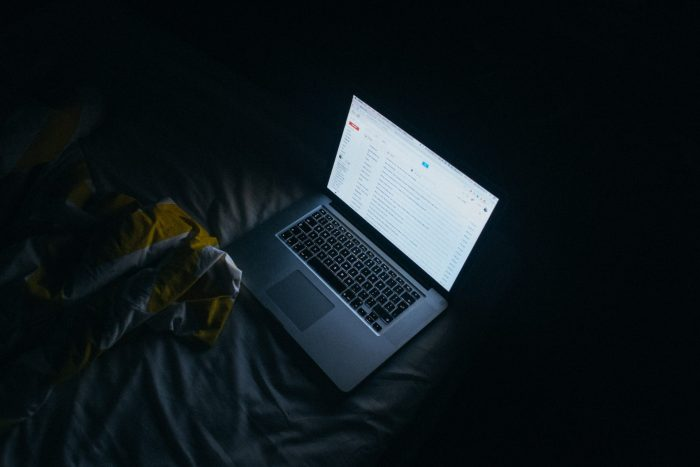 Laptop on the bed