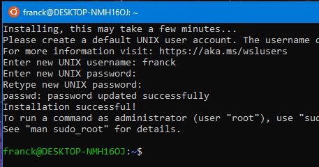 initialisation Linux Ubuntu dans windows terminal