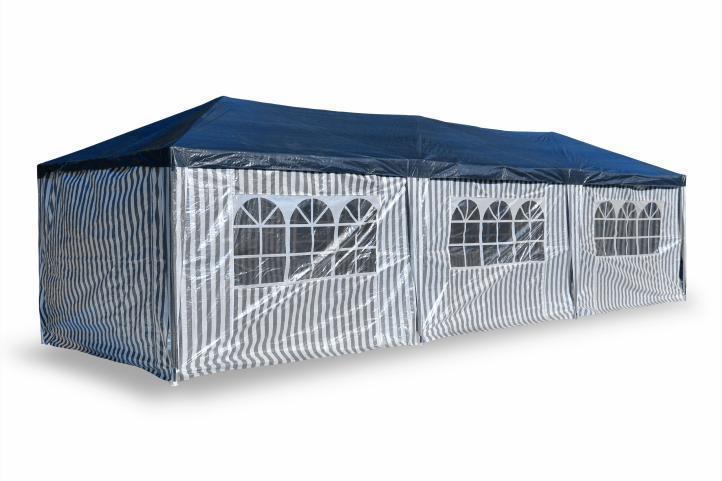 tente de jardin pergola 3x9m pe toile bleu