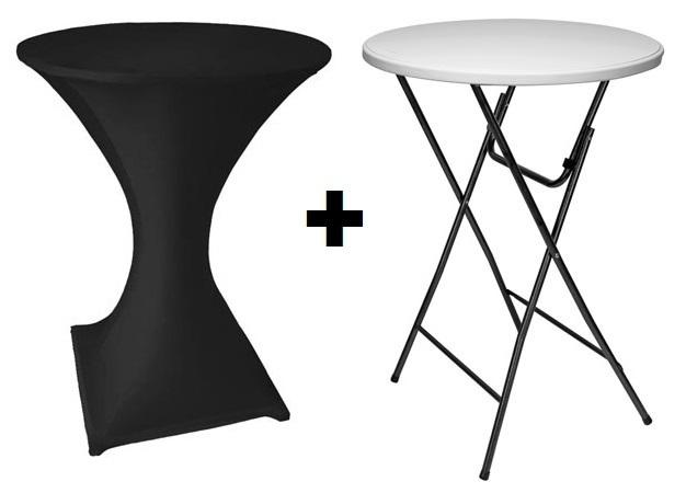table pliante mange debout o 80 cm housse noir