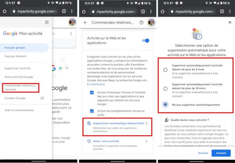 Comment activer suppresion automatique activités Google mobile téléphone tablette