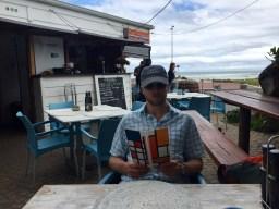 Adrian perusing the menu at Dutchie's