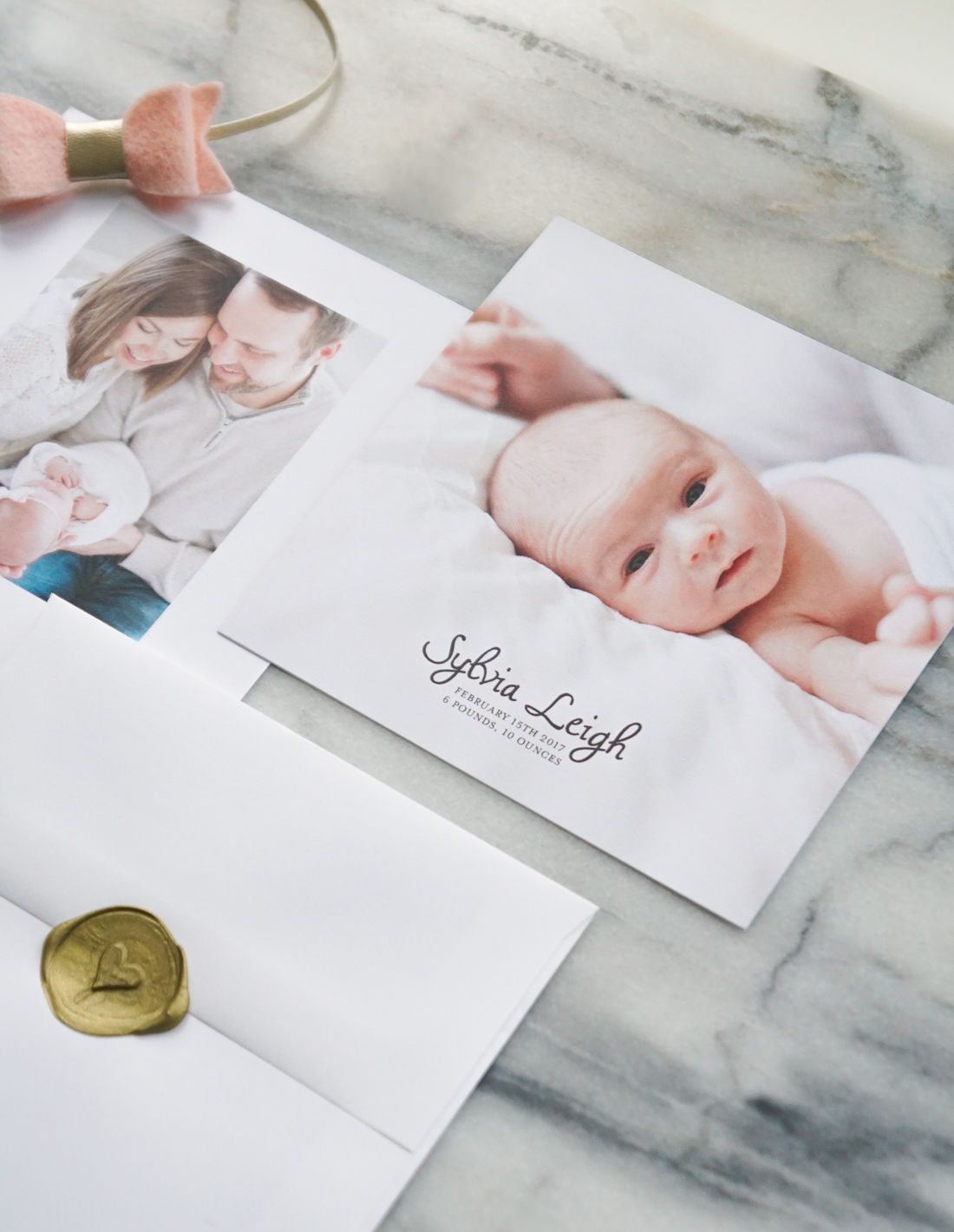 See our custom designed baby girl birth announcements we created from scratch through Mixbook. Click through for all the deets!