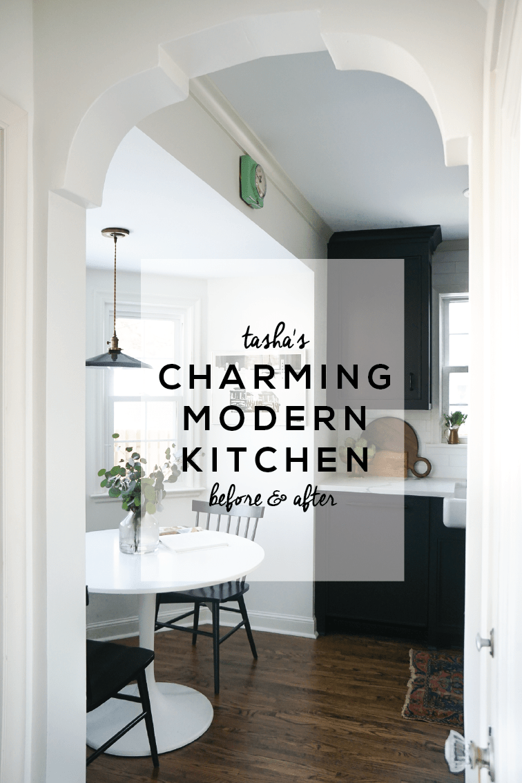 The Before & After transformation of Tchotchkes Design Studio's charming modern kitchen. You are not going to want to miss these matte black details!