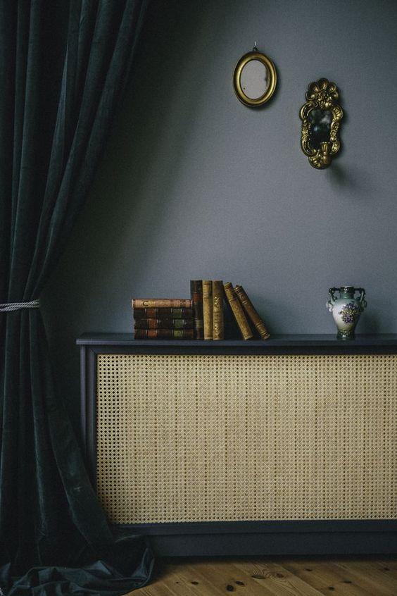 caning radiator cover, dark grey walls