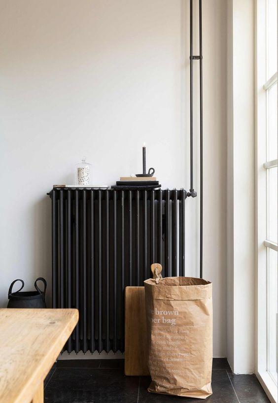 black radiator, white walls, minimal interior