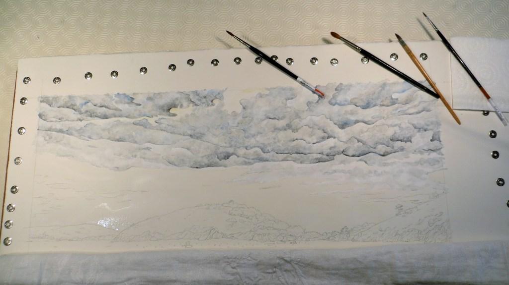 aquarelle, dessin, ciel, nuages