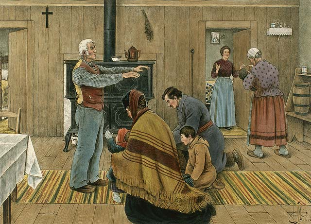 This is a full color illustration of the New Years Blessing.  The man of the house is blessing his kneeling relations.