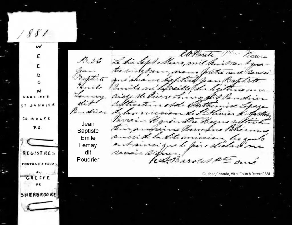 A page from the Quebec vital church record of 1881 with the name Jean Baptiste Emile Lemay dit Poudrier showing an example of a dit name