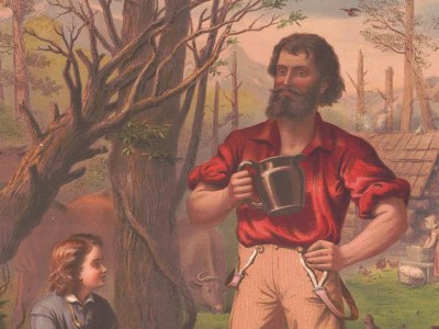 1873 illustration of a lumberjack and a child.