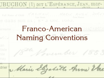 Title Card with Franco-American Naming Conventions written out over a back drop of names