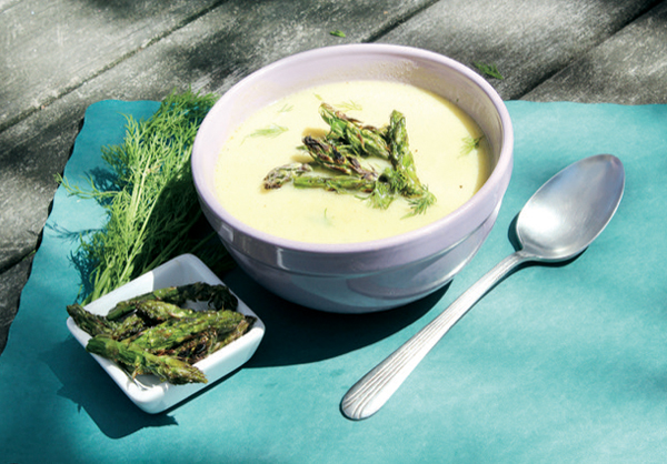 Vegan Roasted Asparagus Avgolemono Soup with Dill from The Bloodroot Calendar Cookbook