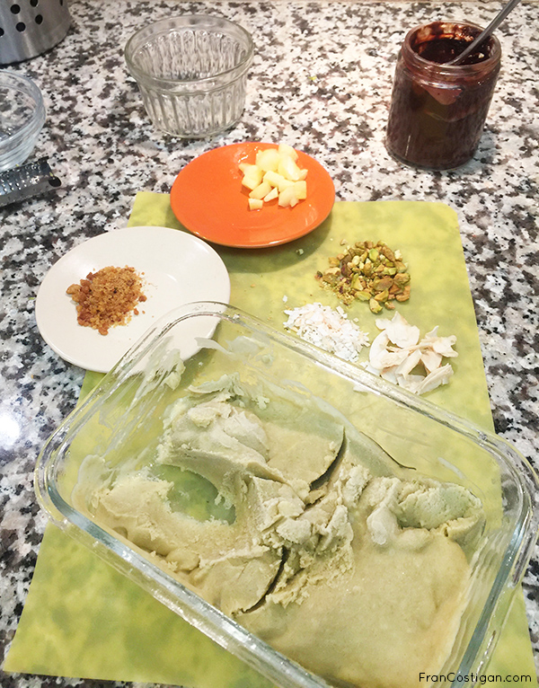 Frozen Avocado Ice Cream with toppings