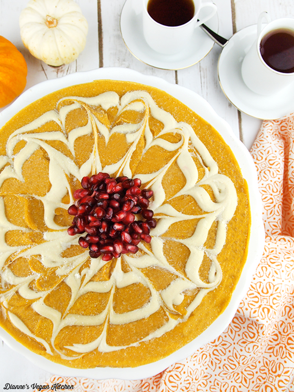 No Bake Pumpkin Swirl Cheesecake from Dianne's Vegan Kitchen