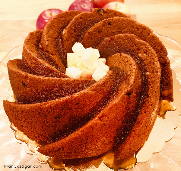 Vegan Honey Bundt Cake filled with apples