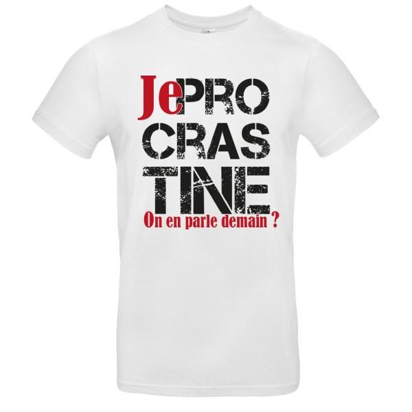 """T-shirt """"Je Procrastine"""" par le Frangotier - Blanc"""
