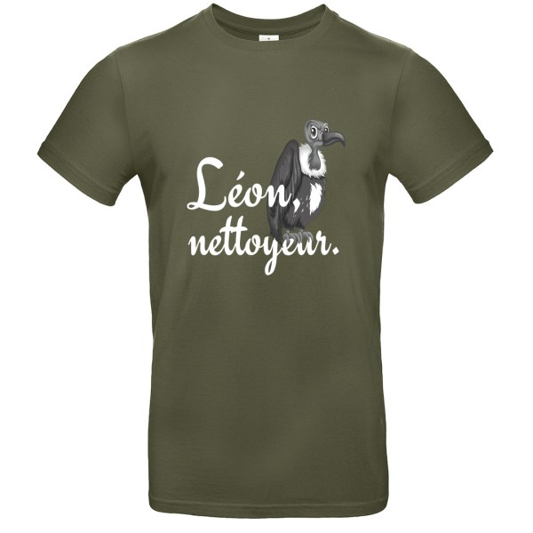 "T-shirt ""Léon, nettoyeur"", vautour rigolo"
