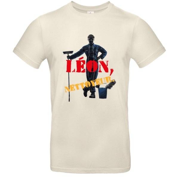 "T-shirt ""Léon, nettoyeur"", homme de ménage"
