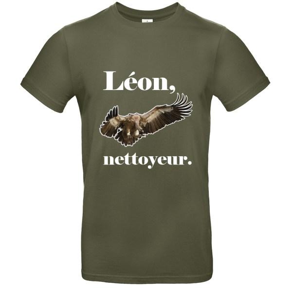 """T-shirt """"Léon, nettoyeur"""", vautour photo-réaliste"""