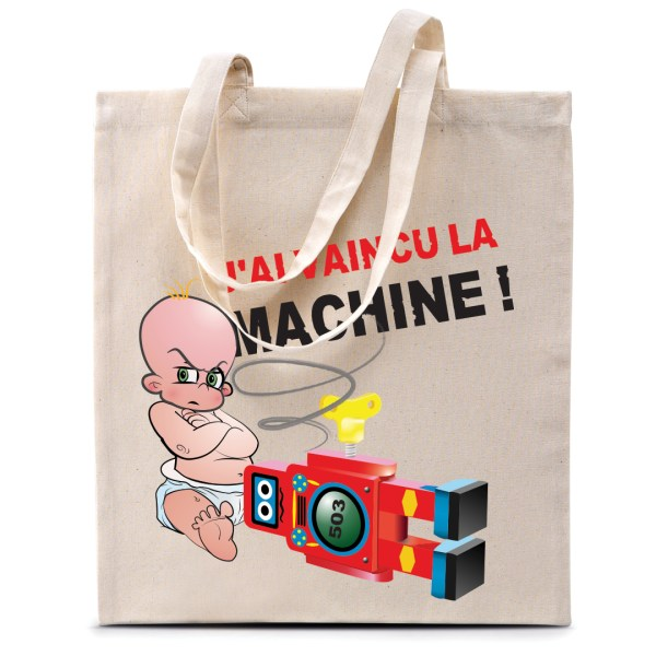"Tote bag ""J'ai vaincu la machine !"""