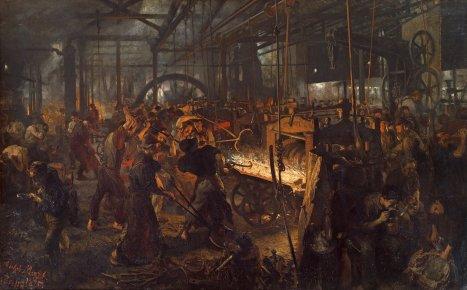 Le travail en usine vers la fin du xixe siècle représenté par Adolph von Menzel.