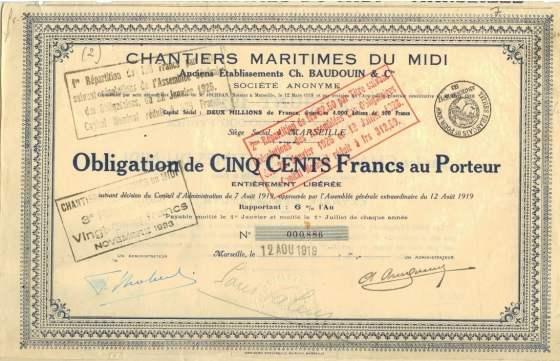Chantier maritime du midi de la baie de Balaguier - obligation