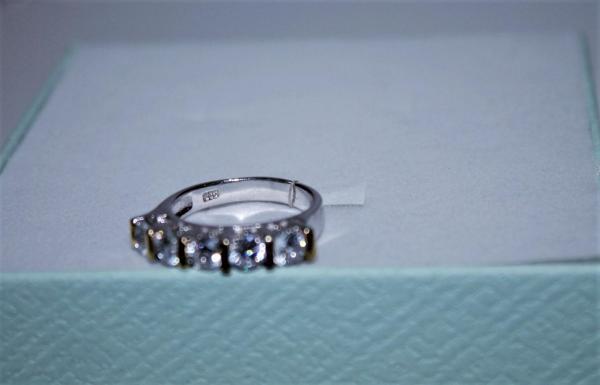 """Высокое Кольцо с Цирконом и позолоченными вставками """"5 Бриллиантов""""."""