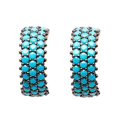 Модные серебряные серьги Nano Turquoise Big