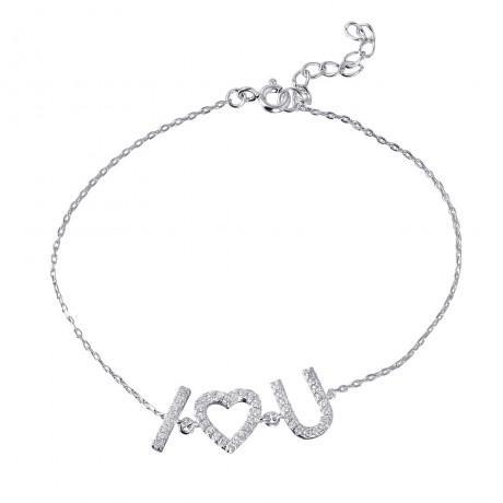 wholesale silver cz i heart u bracelet
