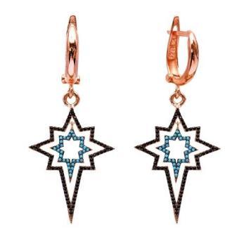 Позолоченные серьги с ассиметричной звездой и черным цирконом