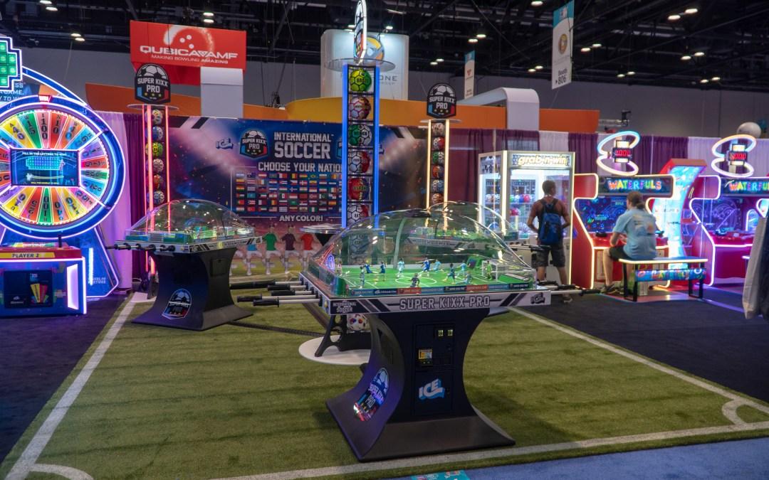 Super Kixx Pro Bubble Soccer (ICE/SEGA) has animated scoreboard video/sounds & 'Choose Your Nation'