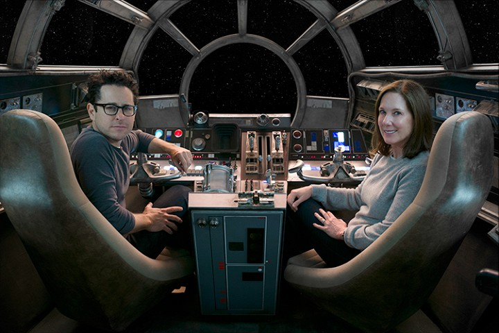 J.J. Abrams and producer Kathleen Kennedy on the bridge of the Millennium Falcon.