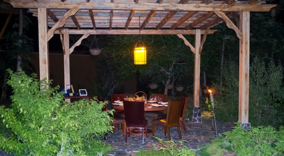 Dinner in Caracol's herb garden.