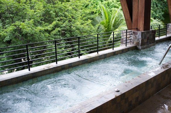 Hot and cold Hydrotherapy pools at The Spa, with screened jungle views, offered free of charge to registered guests.