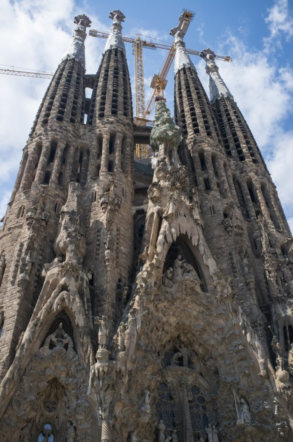 La Sagrada Familia, Gaudi's famous church, still under construction in Barcelona.