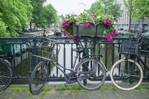 Bicycles, canals, and flowers are signatures of Amsterdam.