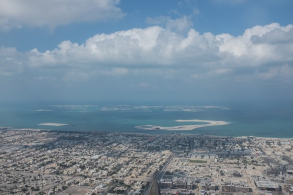 Views from the Burj Kalifa's 122nd floor Observation Deck make it possible to see the man-made islands in the Arabian Gulf.