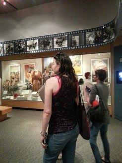 """Enjoying the movie displays at the Gene Autry Museum (Jessica left Elizabeth """"Liz"""" right). Photograph by Rosemary Irvine"""