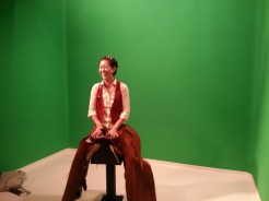 Green Screen fun and leather chaps (Dr. Jennifer Smith). Photograph by Rosemary Irvine