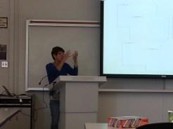 Dee Bakker presenting on Scrivener. Photograph by Rosemary Irvine