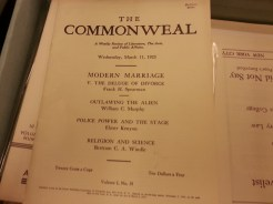 "MSMC Archive magazine ""The Commonweal"" featuring ""Modern Marriage v. The Deluge of Divorce"" by Frank H. Spearman. Photograph by Rosemary Irvine"