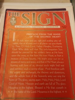 "MSMC Archive magazine ""The Sign"" where Frank H. Spearman often wrote articles relating to Catholic issues. Photograph by Rosemary Irvine"