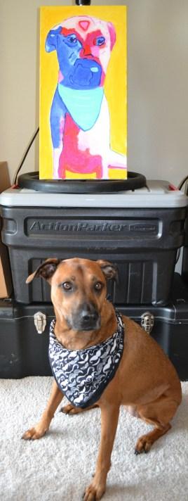Chloe with her Acrylic Dog Portrait