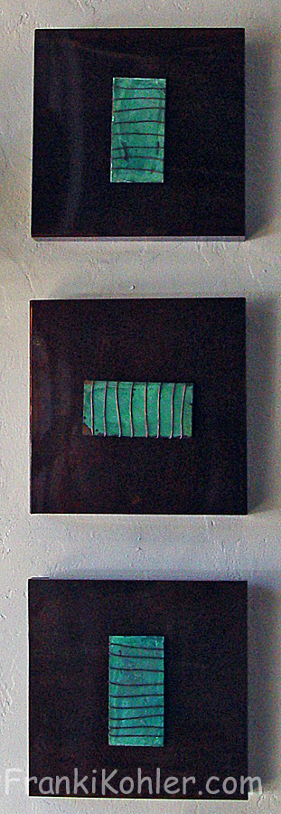 Franki Kohler, acid paintings on copper by Stephen Bruce