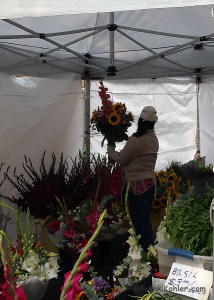 Farmer market flower vendor