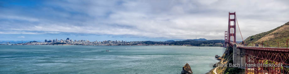 San Francisco skyline med Golden Gate Bridge