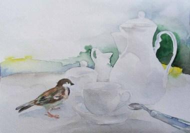 Besuch bei der Kaffeetafel (c) Spatzen Aquarell von Frank Koebsch