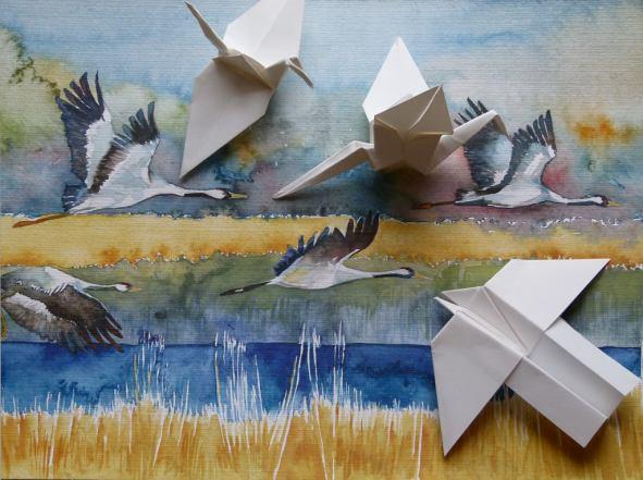 Faszination Kraniche - ein Einladung zum Basteln und Malen