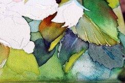 Details der Apfelblüten - Spiel mit Lasuren und Strukturpaste auf Leinwand (c) Frank Koebsch (3)